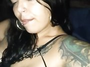 Latina woman with big lips licking cock and swallowing the cum of thug
