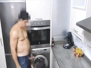 Fucking in the kitchen with busty mature wife